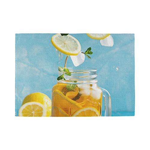 Tischsets 6er Set, wärmeisolierende waschbare Tischsets, Zitronen-Eistee auf Blau 18 x 12 Zoll Küchentischmatten Tischset für Esstisch