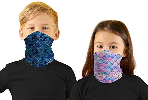 Toddler Boys Face Ski Mask Hiking Bandanas Sport Neck Gaiter Sun Mask Scarf for Litte Girl Mermaid