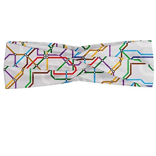 ABAKUHAUS Kaart Hoofdband, Levendige Gestreepte Metro Route, Elastische en Zachte Bandana voor Dames, voor Sport en Dagelijks Gebruik, Veelkleurig