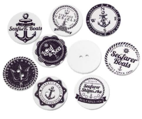 Handarbeit-Lieblingsladen 100 Holzknöpfe zum aufnähen 2,0 cm - schwarz-weiß Verschiedene Maritime Muster Jackenknöpfe Knöpfe aus Holz zum basteln annähen nähen aufnähen Scrapbooking