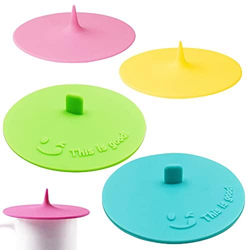 Juego de 4 tapas de silicona para tazas, maxinTapa de sellado de taza de tapa de silicona de grado alimenticio para tazas, tazas, tazas de vidrio, taza de café (amarillo+cian+verde+rosa)