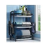 MARYYUN Rejilla para secar Platos con Soporte para Utensilios, para gabinete de encimera de Cocina escurreplatos(Color:a)