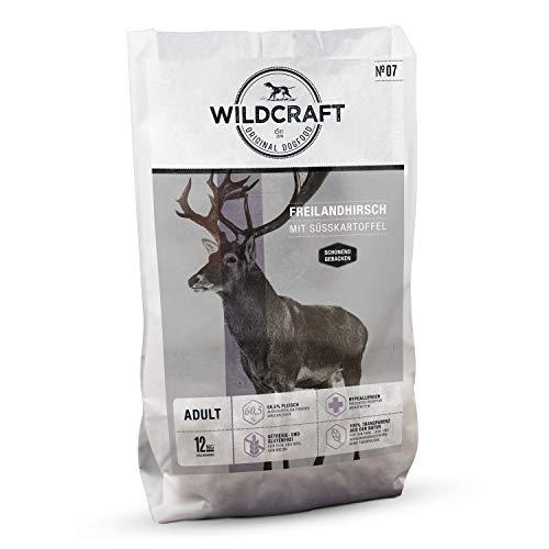 Wildcraft | 12 kg | Trockenfutter für Hunde | getreidefrei | Freilandhirsch mit Süßkartoffel | Monoprotein | Hoher Fleischanteil | Schonend gebacken