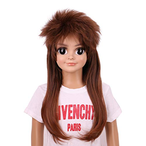 Yilys 70s 80s Long Brown Mullet Wig For Boy Halloween Rock Star Costume Kids (Brown2#)