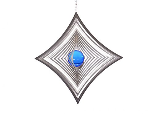 Illumino Edelstahl-Windspiel Quadrat hochkant konkav mit kobaltblauer 50mm Glaskugel