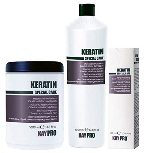KEPRO Kay PRO KERATIN Set reestructurante para cabello tratado y dañado: Champú 1000ml, Máscara 1000ml, SUERO 100ml