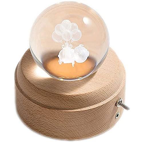 Hbao Caja de música Crystal Ball The Dear Luminous Caja Musical giratoria con proyección y Base de Madera cumpleaños, Navidad