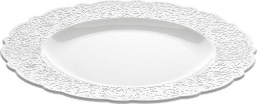Alessi Mw01/1 Dressed Assiette Plate en Porcelaine Blanche avec Décoration en Relief, Set de 4 Pièces