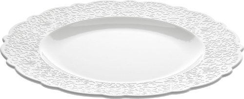 Alessi Dressed - Platos llanos (4 unidades), diseño con relieve, color blanco