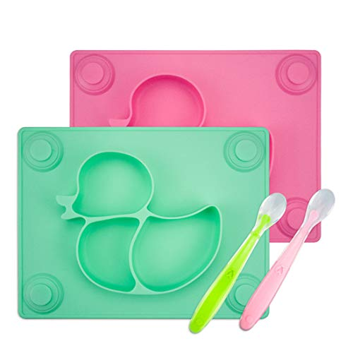 Baby Placemat with Baby Spoons (2 Sets) - 2X Silicone Baby Plates with Suction Cups Plus 2X Silicone Infant Feeding Spoons for Toddlers, Kids and Children (Pink &Green)