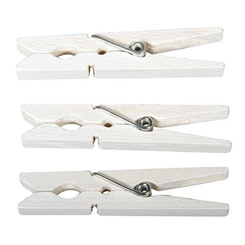 Rayher 6131602 Pinces à Linge en Bois, Blanc, 72mm, sct-LS 18 pces