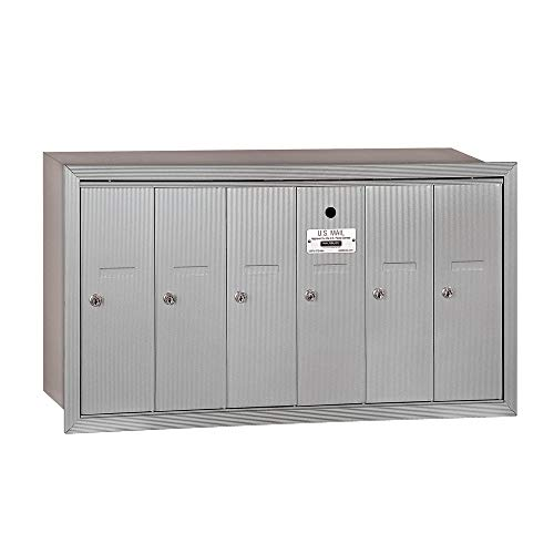 Salsbury Industries 3506ARU Recessed Mounted Vertical Mailbox with 6 Doors and USPS Access, Aluminum