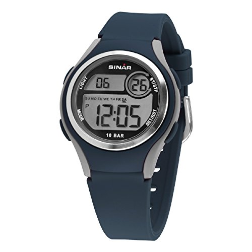 SINAR Jungen-Armbanduhr Jugenduhr Sport Outdoor Digital LCD Quarz 10 bar Licht Silikonband XE-64-2