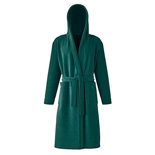 Nella Milan, accappatoio da uomo e da donna, 100% cotone, in spugna, con cappuccio, colore: verde bosco, XXXL)