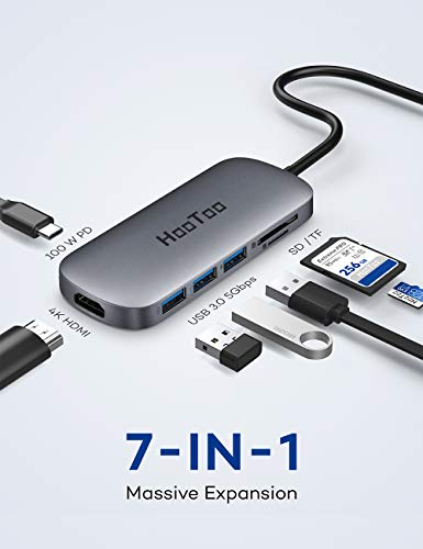 HooToo USB C Hub, USB-C-Adapter mit HDMI-Ausgang, Kartenleser, 3 USB 3.0-Ports für MacBook/Pro/Air und Windows Typ C Laptop Grau