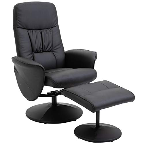 HOMCOM Executive Recliner Chair High Back and Footstool Armchair Lounge Seat Black