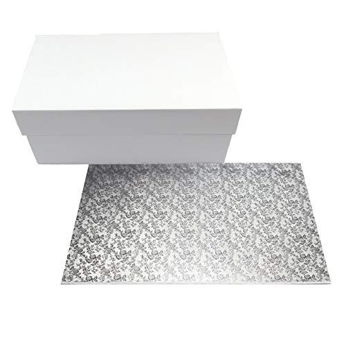Miss Bakery's House® Cake Box mit MDF Board - 40x30x15 cm - Weiß - Tortenunterlage
