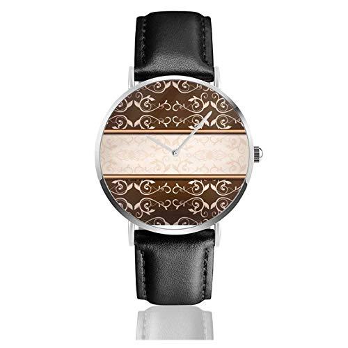Elegante reloj de mármol damasco marrón y caqui con movimiento de cuarzo, correa de reloj de cuero impermeable para hombres y mujeres,