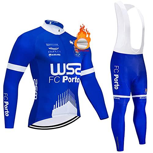 PENGFEICI Conjunto de Maillots de Ciclismo para Invierno, Ropa de Bicicleta térmica de Equipo Profesional para Hombres, Bicicleta Pantalones con 3D Gel Acolchado