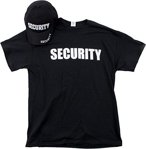 Security Hat & T-Shirt Bundle | Matching Security Guard Officer Uniform Kit-(Adult,M) Black