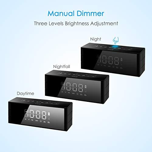 2020バレンタインギフトZealSoundBluetoothスピーカー時計スピーカーブルートゥースワイヤレススピーカーポータブルスピーカーポータブルオーディオ置き時計目覚まし時計4.2Bluetoothspeakerクロック鏡面マイク内蔵3D立体高音質ハンズフリー通話クロックアラームLED四階段の明るさ3.5mmAUX入力TFカード接続オーディオケ