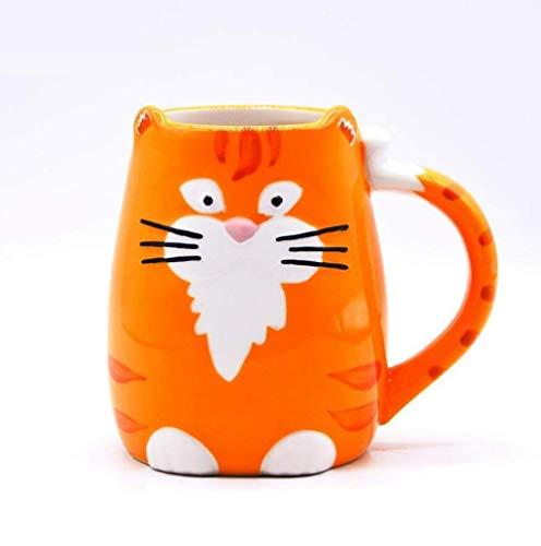 XUSHEN-HU Taza de cerámica de dibujos animados Animal en forma de porcelana taza lindo gato taza de cerámica chica desayuno leche taza parejas taza creativa el búho taza té