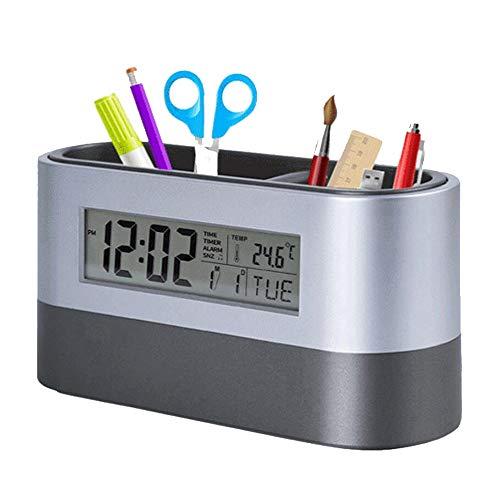 hhxiao Digitale Alarm Klok Office Desktop Opslag Pen Houder Gereedschap Naam Kaart Container Met Digitale Alarm Klok Timer Kalender Temperatuur Thermometer