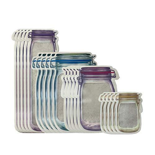 Zip Jar, Mason Jar, Mason Bolsa Almacenamiento, Bolsas Ziplock para Alimentos, Reutilizable, 4 Tamaños, Protege la Frescura de Varios Bocadillos, Frutas, Verduras y Galletas