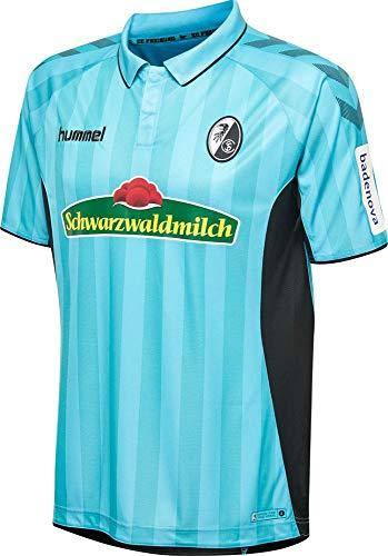 Hummel Fußball Kinder SC Freiburg SCF 3rd Trikot 2018 2019 Ausweichtrikot hellblau schwarz Gr 140