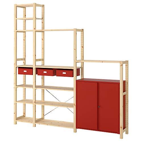 Estantería IVAR con gabinetes/cajones 219x30x226 cm pino/rojo