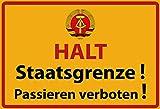Schatzmix DDR Halt Staatsgrenze Warnschild Metallschild 20x30cm Deko tin Sign Blechschild, Blech, Mehrfarbig, 20x30 cm