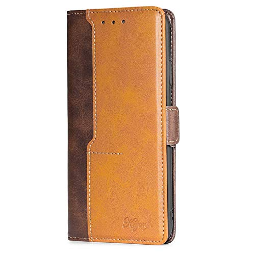 FANFO® Hülle für Oppo Oppo Reno4 Z 5G/A92s HandyHülle, Premium PU/TPU Leder Tasche Magnetverschlüsse Schutzhülle Flip Wallet Klapphülle Hülle Cover, Braun