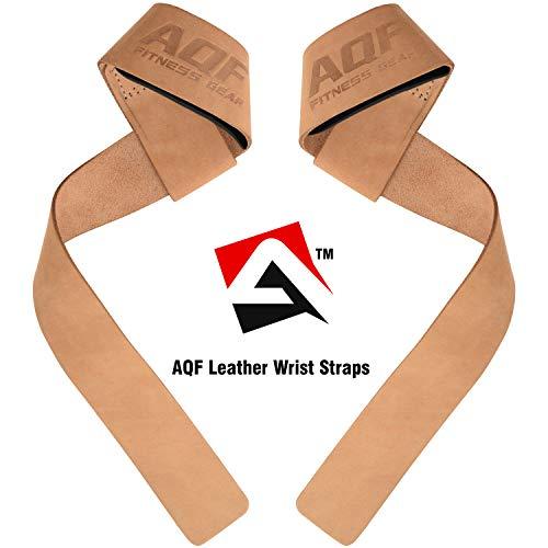 AQF Gewichthebergurte Neopren gepolsterte Handgelenksstütze, Cross Fit Training Handgelenkgurte Bodybuilding Powerlifting Fitness Übungsgriffe (Braunes Leder)