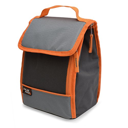 POLAR PACK Insulated Lunch Bag Insulated Tote Bag Cooler Bag Side Zipper Pocket Handle Carry Insulated Picnic Bag Indoor Outdoor Bag Portable Travel Bag for Beach & Work (Charcoal/Grey/Orange)