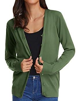 GRACE KARIN Women s Button Down V-Neck Long Sleeve Soft Knit Cardigan Sweater S,Dark Olive Green