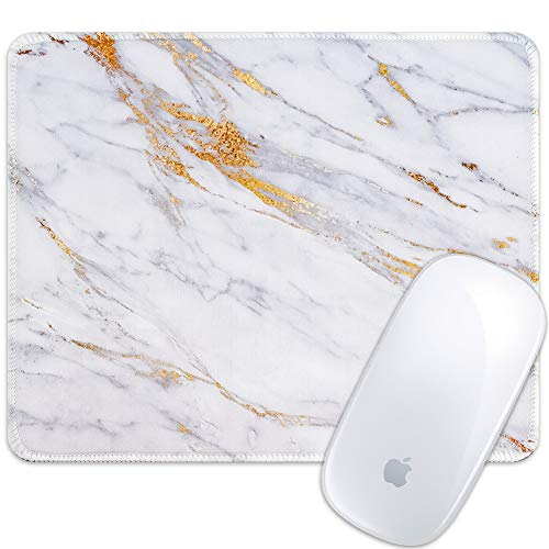 Marphe Mouse Pad White Gold Marble Design Mousepad Stitch Edge Non-Slip Rubber Gaming Mouse Pad Rectangle Mouse Pads for Computers Laptop