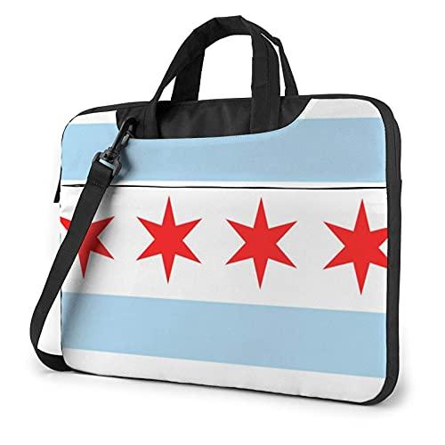 Maletín Funda para Ordenador Portátil Bandera de Chicago Portadocumentos Maletines y Bolso Bandolera para Portátil 13/14/15.6 Pulgadas
