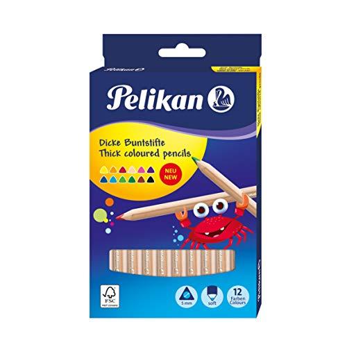 Pelikan triangular de lápices de colores JUMBO, estuche de cartón con 12