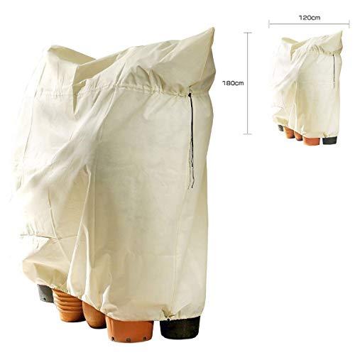 SavingBird - 2 copertine protettive antigelo per Piante, in Tessuto, Protezione Invernale per Piante, Protezione dal Gelo e dal Freddo, Colore: Bianco, Dimensioni: 120 x 180 cm (Bianco-Giallo)