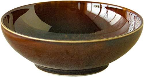 Cuenco japonés de cerámica Mino-yaki Donburi, tamaño grande para ramen, arroz, sopa, hecho en Japón, 15 cm, Wabisabi Classic, color marrón caramelo