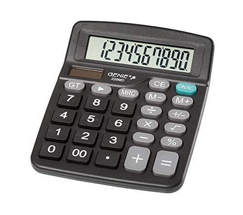 Genie 220 MD 10-cijferige rekenmachine, Dual Power (zonne-energie en batterij) 1 stuk, compact design, zwart