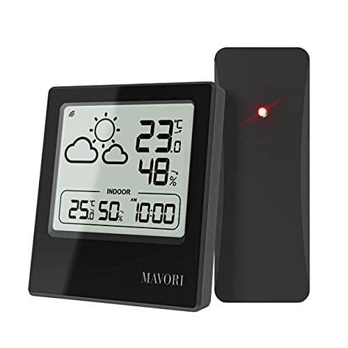 MAVORI® Wetterstation Funk mit Außensensor und Wettervorhersage - Hygrometer und Thermometer innen/aussen mit genauen Messwerten - Anzeige von Wettertrend und Uhrzeit - schlichtes und edles Design