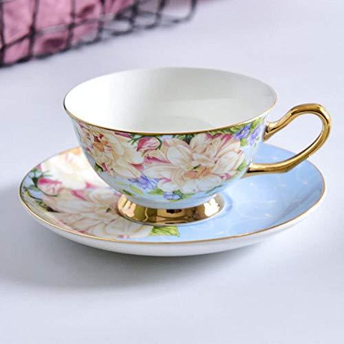 mytxfh Kaffeetassen American Style Flowering Bone Tee Kaffeetasse Untertasse Vergoldet Keramik Porzellan Kaffee Tee-Sets