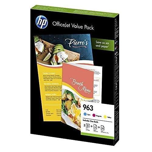 HP 963 6JR42AE Value Pack con 3 Cartucce Originali Standard, 125 Fogli A4, 2.100 Pagine, Compatibile con Stampanti a Getto d'Inchiostro OfficeJet Pro Serie 9010, 9020, Ciano/Giallo/Magenta