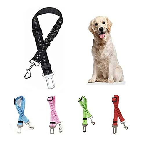 Cinturón de Seguridad para Perro - Cinturón elástico para Mascotas - Arnés Fabricado en Nylon con Parte elástica - 100% Seguro para tu Mascota - 5 Modelos a Elegir (Negro)