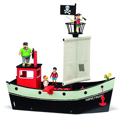 Micki & Friends 44377100 Pippi Langstrumpf Piratenschiff Hoppetossa - Holz - 48x50x18 cm - ab 3 Jahre - Segelboot, Schiff, Piraten, beweglicher Anker & Heck