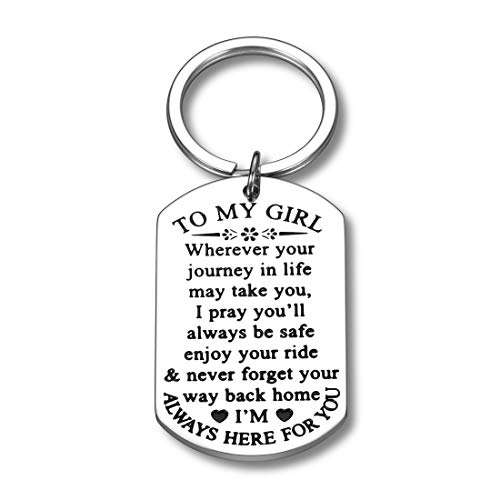 To My Little Girl Inspirational Gifts Keychain For Daughter From Mom Dad Sweet 16th 18th 21st Birthday Graduation Wedding Christmas Mothers Day Gift For Step Teen Adult Daughter Girls Kids Keyring