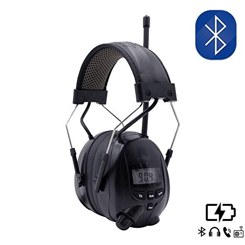 Inf Protear Bluetooth AM FM Radio Headphones,Noise Reduction NRR 25dB Safety Ear Muffs Rechargeable 1200 mAh Lithium Battery Hearing Protection,Ear Protector for Lawn Mowing Work,Black