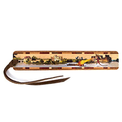 Mitercraft Fire Breathing Dragon Defends Castle - Colorful Wooden Bookmark with Suede Tassel - Also Available Personalized