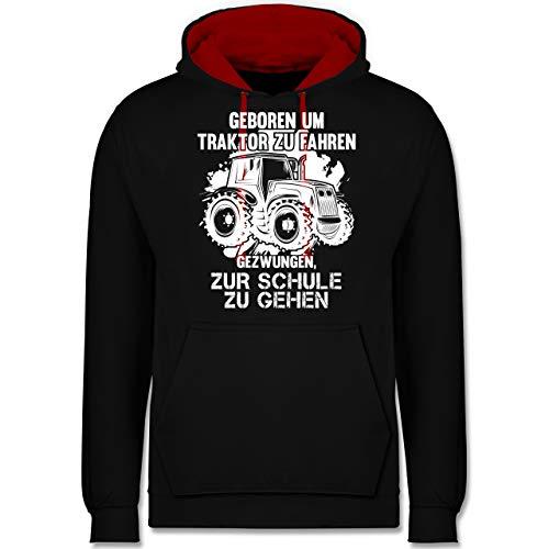 Shirtracer Andere Fahrzeuge - Geboren um Traktor zu Fahren - 5XL - Schwarz/Rot - Pullover Traktor - JH003 - Hoodie zweifarbig und Kapuzenpullover für Herren und Damen